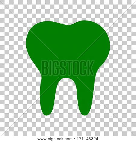 Tooth sign illustration. Dark green icon on transparent background.