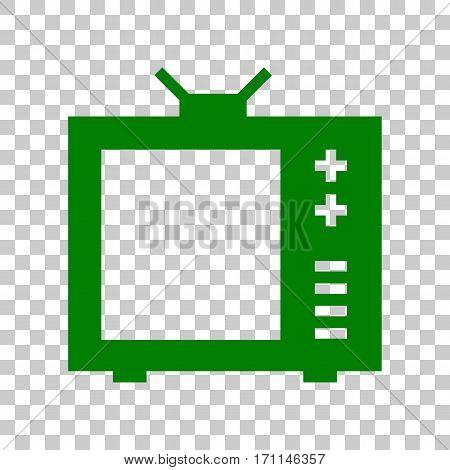TV sign illustration. Dark green icon on transparent background.