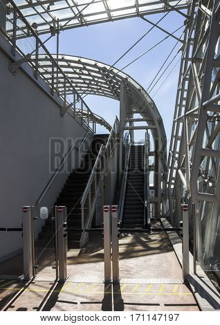 moving staircase of exit/entrance of Venice Monorail line which connects Venice with the Marittima cruise terminals and tourist bus stop Italy