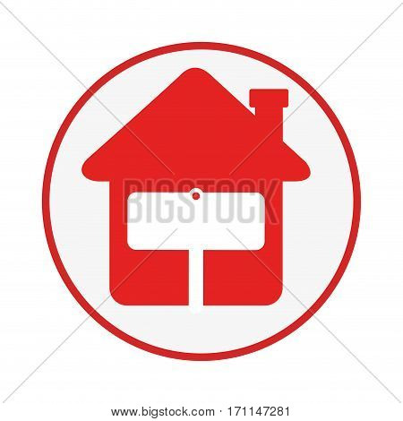 circular frame with house with notice of sale vector illustration