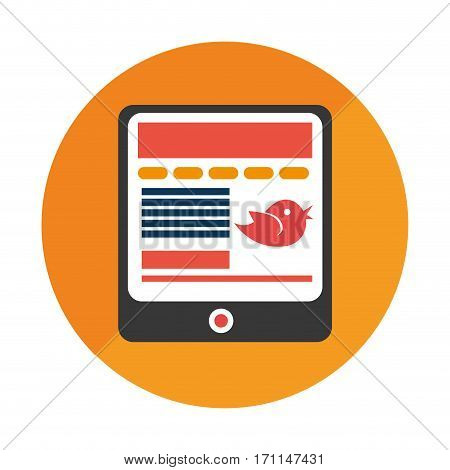 round frame with tablet and screen message vector illustration