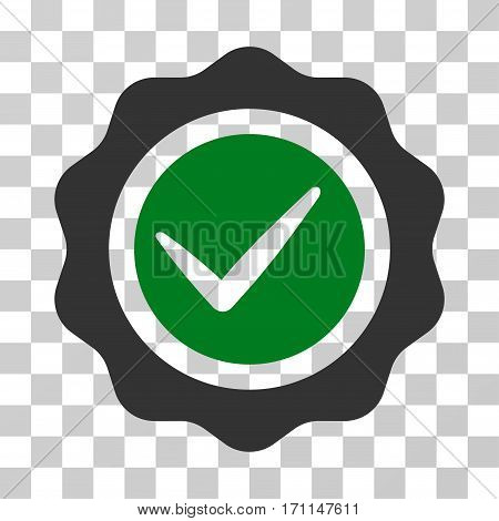 Valid Seal icon. Vector illustration style is flat iconic bicolor symbol green and gray colors transparent background. Designed for web and software interfaces.