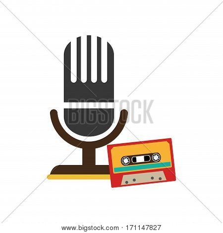 color silhouette with microphone and tape cassette vector illustration
