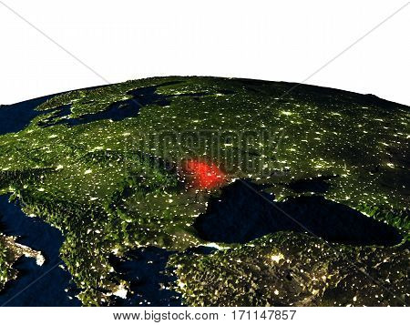 Moldova From Space At Night