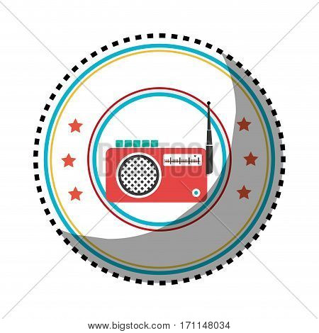 sticker color circular frame with radio stereo vector illustration