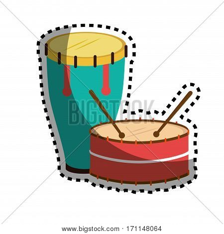 sticker color silhouette with drum and drum stick vector illustration