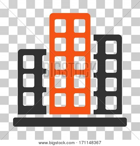 City icon. Vector illustration style is flat iconic bicolor symbol orange and gray colors transparent background. Designed for web and software interfaces.