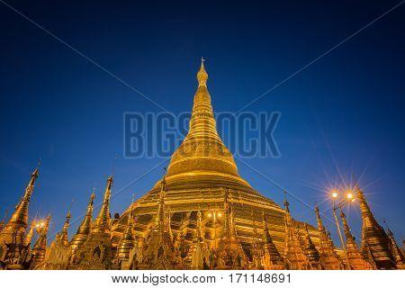 Golden Pagoda in Burma Shwedagon temple in Yangon Myanmar