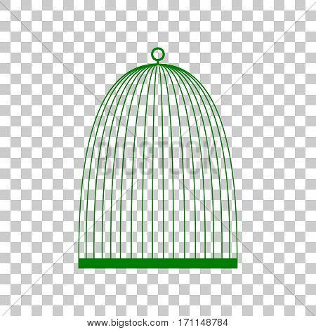 Bird cage sign. Dark green icon on transparent background.