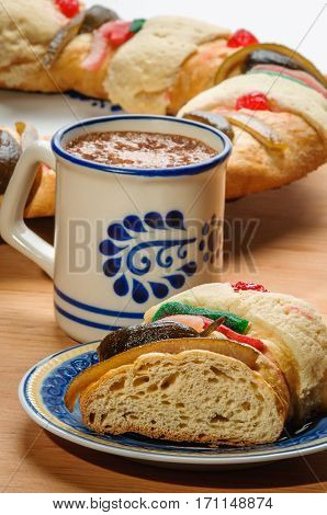 Chocolate Cup With Rosca De Reyes, Epiphany Cake, Kings Cake, Roscon De Reyes