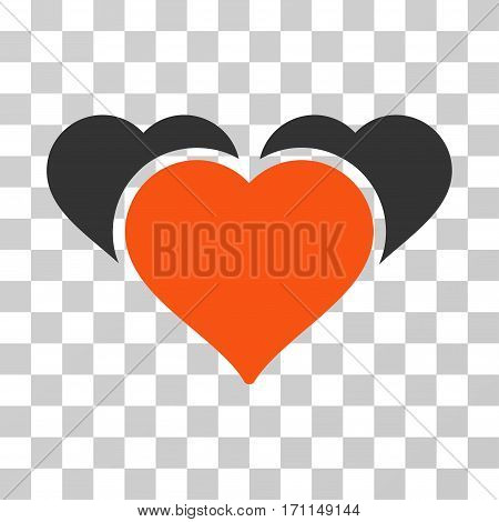 Favourite Hearts icon. Vector illustration style is flat iconic bicolor symbol orange and gray colors transparent background. Designed for web and software interfaces.