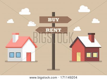 Property buy and rent signs. Vector illustration