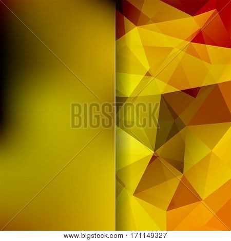 Background Made Of Yellow, Brown, Beige Triangles. Square Composition With Geometric Shapes And Blur