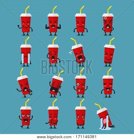 Set of soft drink cartoon character emoji