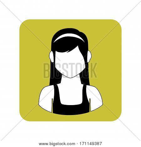 square frame with half body woman with shirt sleeveless vector illustration