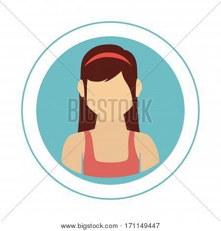 circular frame with half body woman with shirt sleeveless vector illustration