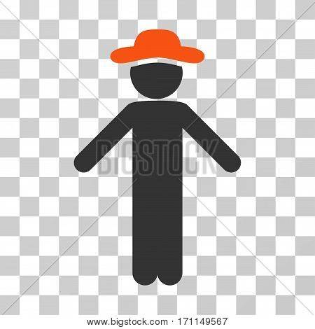 Gentleman Apology icon. Vector illustration style is flat iconic bicolor symbol orange and gray colors transparent background. Designed for web and software interfaces.