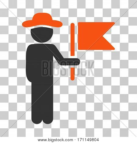 Gentleman Commander icon. Vector illustration style is flat iconic bicolor symbol orange and gray colors transparent background. Designed for web and software interfaces.