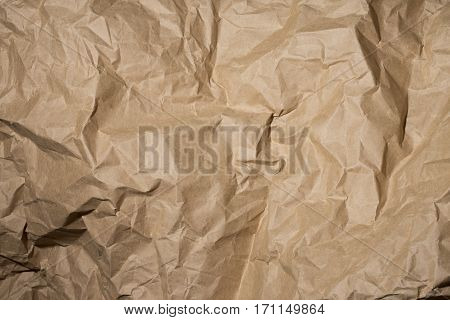 Background of crumpled wrapping paper close up