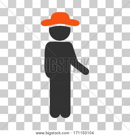 Gentleman Idler icon. Vector illustration style is flat iconic bicolor symbol orange and gray colors transparent background. Designed for web and software interfaces.