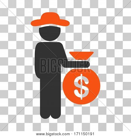 Gentleman Investor icon. Vector illustration style is flat iconic bicolor symbol orange and gray colors transparent background. Designed for web and software interfaces.