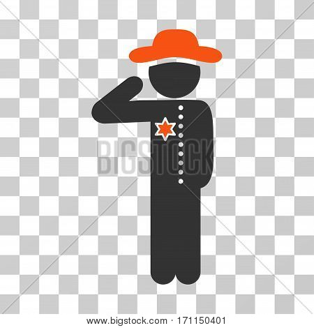 Gentleman Officer icon. Vector illustration style is flat iconic bicolor symbol orange and gray colors transparent background. Designed for web and software interfaces.