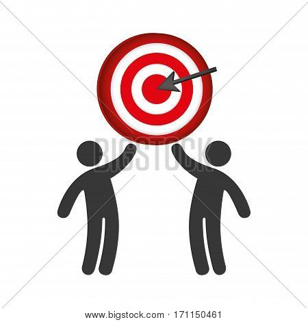 pictogram of men and target with arrow vector illustration