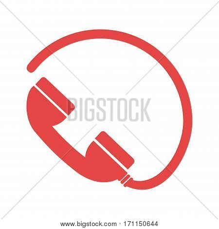 monochrome silhouette with telephone and cable vector illustration