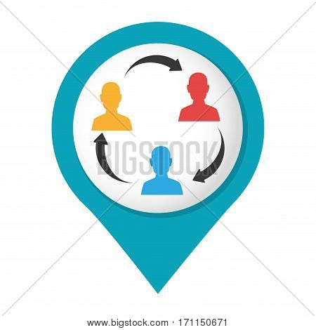 map pointer with color teamwork for bussines in meeting vector illustration