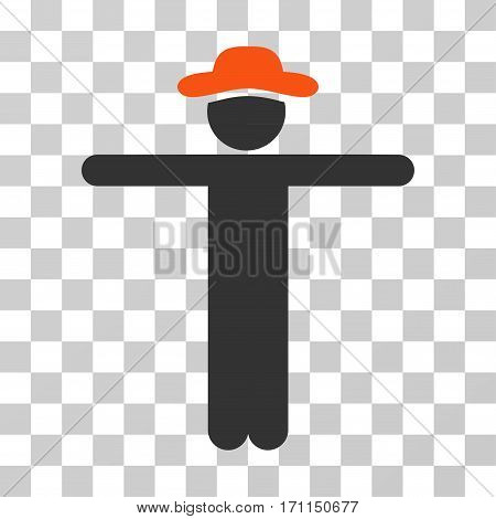 Gentleman Scarescrow icon. Vector illustration style is flat iconic bicolor symbol orange and gray colors transparent background. Designed for web and software interfaces.
