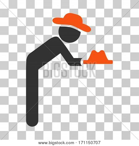 Gentleman Servant icon. Vector illustration style is flat iconic bicolor symbol orange and gray colors transparent background. Designed for web and software interfaces.