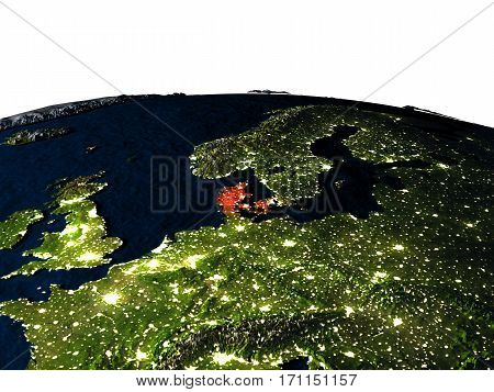 Denmark From Space At Night