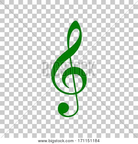 Music violin clef sign. G-clef. Treble clef. Dark green icon on transparent background.
