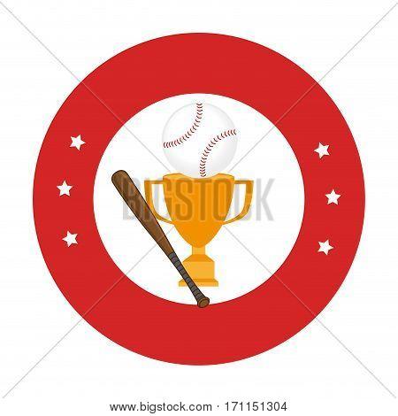 circular frame with baseball trophy with ball and baseball bat vector illustration