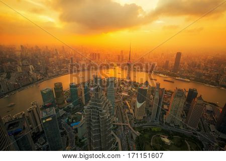 aerial view of shanghai at night from jinmao building best point roof top view in Shanghai city China with sunset