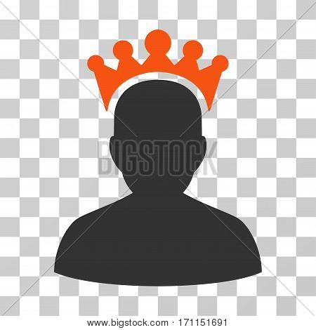 King icon. Vector illustration style is flat iconic bicolor symbol orange and gray colors transparent background. Designed for web and software interfaces.