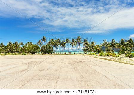 Runway at Bora Bora Airport Tahiti French Polynesia