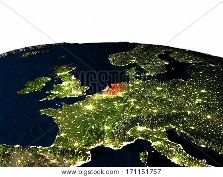 Netherlands From Space At Night