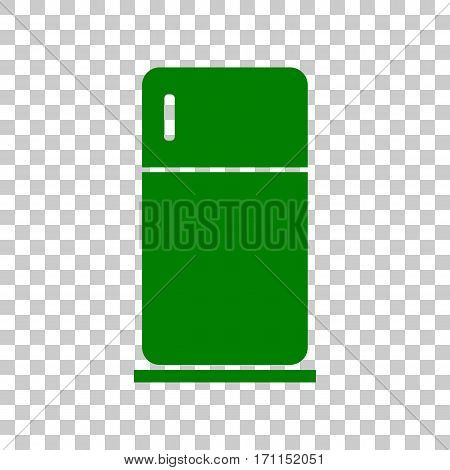 Refrigerator sign illustration. Dark green icon on transparent background.