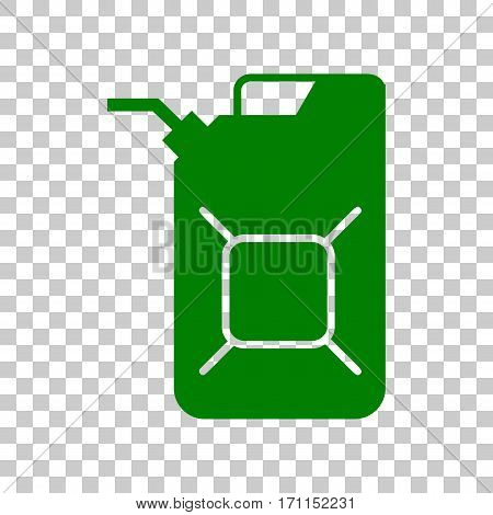 Jerrycan oil sign. Jerry can oil sign. Dark green icon on transparent background.