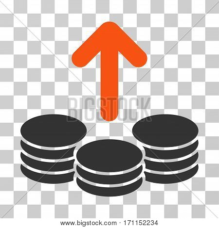 Payout Coins icon. Vector illustration style is flat iconic bicolor symbol orange and gray colors transparent background. Designed for web and software interfaces.