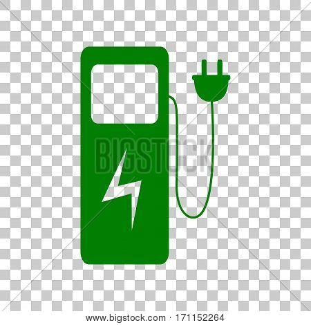 Electric car charging station sign. Dark green icon on transparent background.
