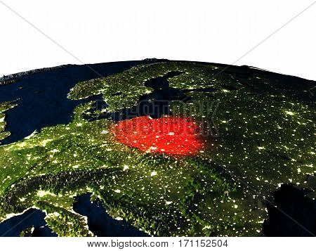 Poland From Space At Night