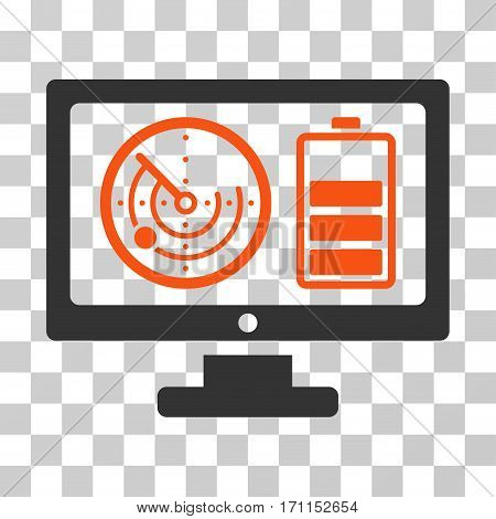 Radar Battery Control Monitor icon. Vector illustration style is flat iconic bicolor symbol orange and gray colors transparent background. Designed for web and software interfaces.