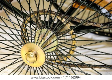 Spoked wheel of an oldtimer, automobile, car, oldtimer