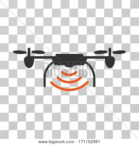 Radio Transmitter Airdrone icon. Vector illustration style is flat iconic bicolor symbol orange and gray colors transparent background. Designed for web and software interfaces.