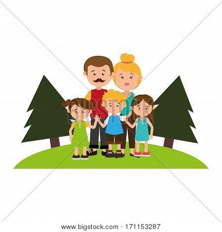 colorful landscape with family nucleus vector illustration