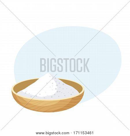 Salt, sugar, flour or some powder bowl. Baking Ingredients. Healthy organic food. Cartoon vector. Kitchen utensils cup. Dough cooking.