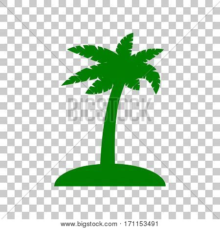 Coconut palm tree sign. Dark green icon on transparent background.