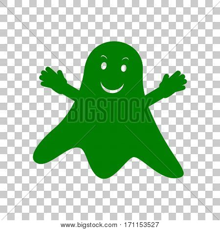 Ghost isolated sign. Dark green icon on transparent background.